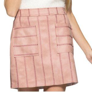 She & Sky Blush Faux Suede Mini Skirt -L -NEW
